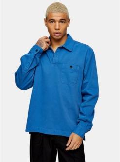 antioch hemd mit viertelknopfleiste blau blau