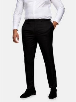 big tall strukturierte enge anzughose schwarz schwarz
