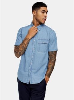 blauschmales hemd aus festem denim indigo blau