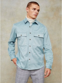 braunschmal geschnittenes hemd in wildlederoptik grau braun