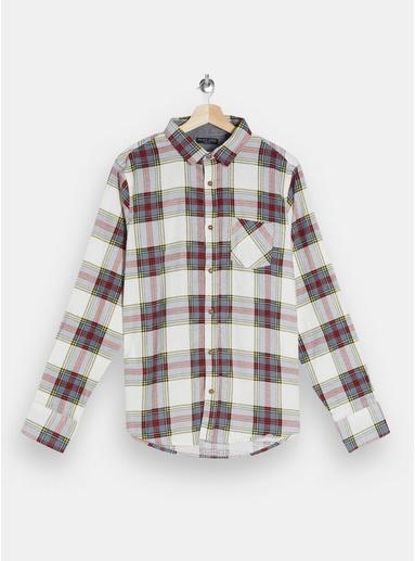 BRAVE SOUL Schmal geschnittenes Hemd mit Karomuster, cremeweiß, CREME