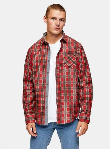 BRAVE SOUL Schmal geschnittenes Hemd mit Karomuster, rot, ROT