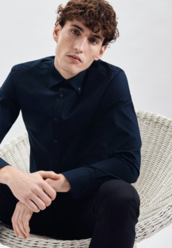 buegelfreies popeline business hemd in shaped mit button down kragen 1