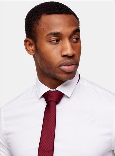 BURGUNDStrukturierte Krawatte mit Clip, weinrot, BURGUND