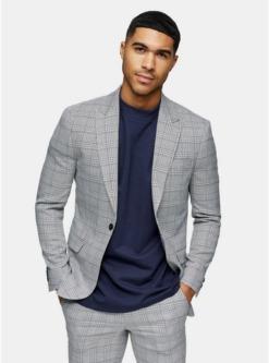 einreihiger blazer mit spitzem revers und karomuster grau grau