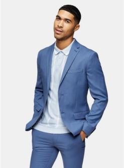 einreihiger enger blazer mit fallendem revers blau blau