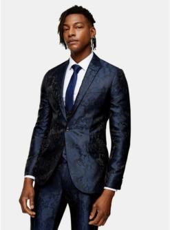 einreihiger jacquard blazer mit spitzem revers navyblau blau