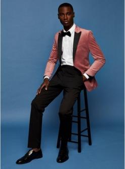 einreihiger samtblazer mit spitzem revers pink pink