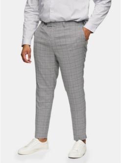 eng geschnittene big anzughose mit grossen karos grau grau