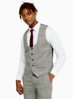 enge anzugweste mit karomuster grau und beige grau