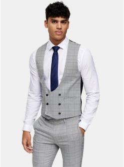 enger anzug mit karomuster grau grau