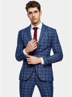 enger blazer mit spitzem revers und karomuster blau blau