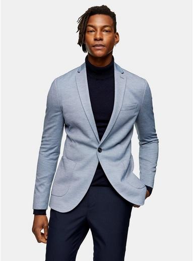 Enger einreihiger Jersey-Blazer mit fallendem Revers, blau, BLAU