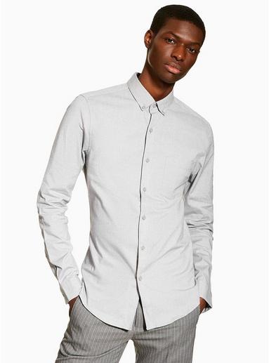 Enges Stretch-Oxfordhemd, grau, GRAU
