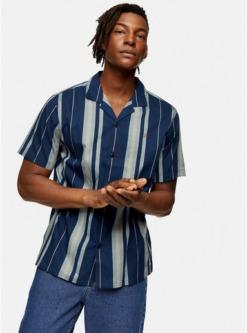 farah laredo hemd mit streifendesign blau blau