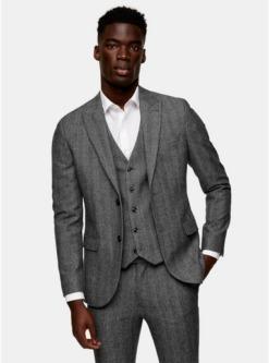 graugrey herringbone single breasted skinny suit blazer with peak lapels grau