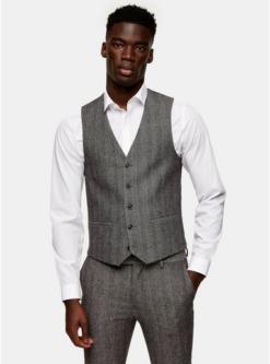 graugrey herringbone skinny suit waistcoat grau