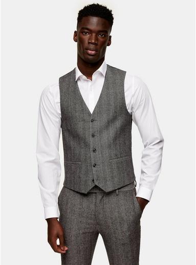 GRAUGrey Herringbone Skinny Suit Waistcoat, GRAU
