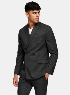 grauzweireihiger blazer mit spitzem revers und nadelstreifen anthrazit grau