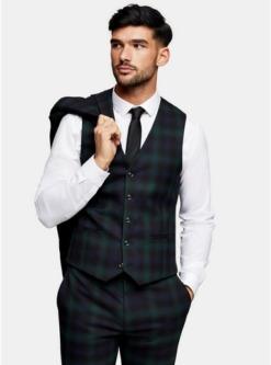 gruenenge anzugweste mit blackwatch karomuster schwarz gruen