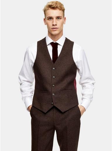 Harry Brown Anzugweste in schmaler Passform, braun, BRAUN