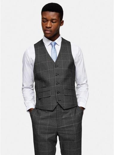 Harry Brown Anzugweste mit einreihigem Design, grau, GRAU