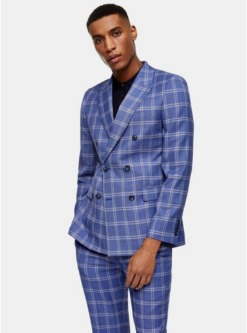 harry brown blazer mit spitzem revers und karomuster blau blau