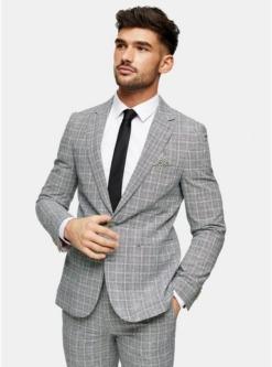 harry brown blazer mit spitzem revers und karomuster grau grau