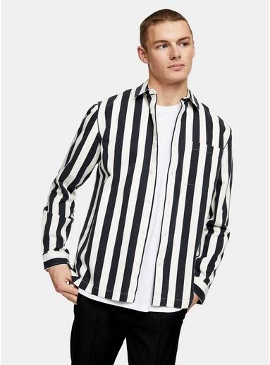 Hemdjacke mit Streifendesign, schwarz und cremeweiß, SCHWARZ