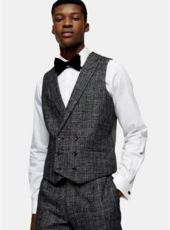 heritage anzugweste mit karomuster schwarz schwarz