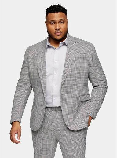 Karierter Blazer mit spitzem Revers Tall-Größe, grau, GRAU