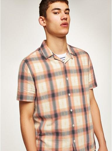 Kariertes Hemd mit Reverskragen, pink und weiß, PINK