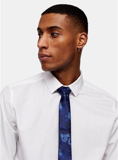 Krawatte mit floralem Jacquard-Design, navyblau, BLAU