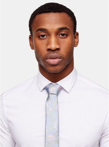 Krawatte mit floralem Print, hellblau, BLAU