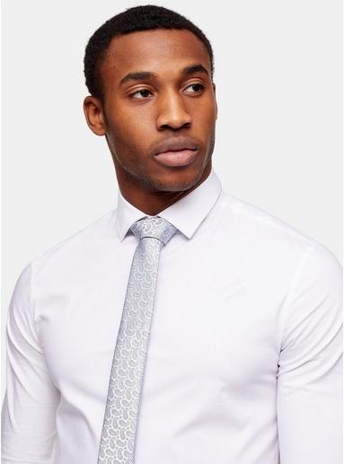 Krawatte mit Paisley-Muster, silber und blau, SILBER