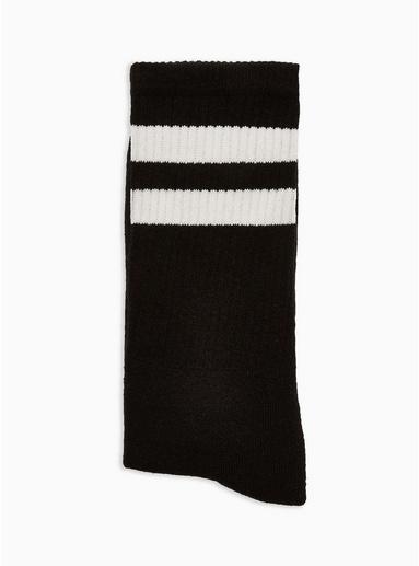 Lange Strümpfe mit Streifen, schwarz und weiß, SCHWARZ