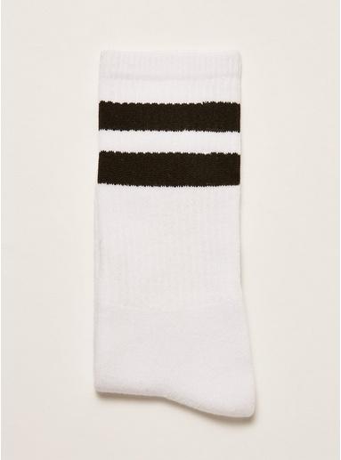Lange Strümpfe mit Streifen, weiß und schwarz, WEIß