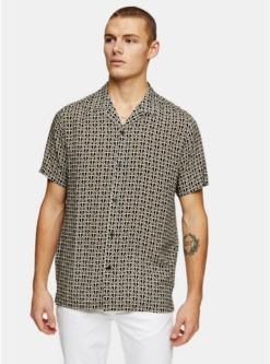 metallikschmales hemd mit topman print gold metallik