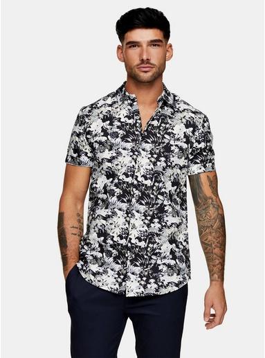 MULTIConsidered Hemd in schmaler Passform mit floralem Camo-Print, MULTI