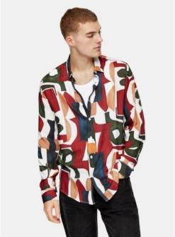multischmal geschnittenes hemd mit pinselstrich print multi
