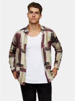 multischmales hemd mit abstraktem pinselstrich print multi