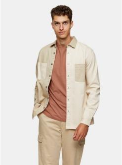 multischmales hemd mit gespleisstem design beige und cremeweiss multi