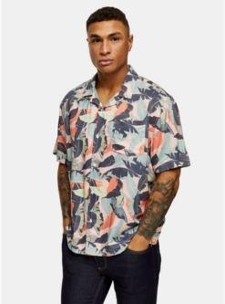 multischmales hemd mit reverskragen und palmen print pink multi