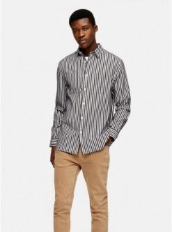 multischmales hemd mit streifendesign khaki und anthrazit multi