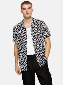 multischmales hemd mit topman print schwarz und weiss multi