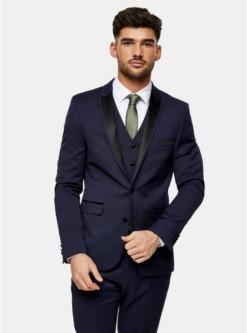 navy blaueinreihiger harry brown blazer mit spitzem revers navyblau navy blau