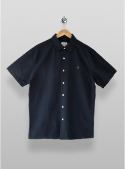 navy blaufarah seersucker kurzarmhemd navyblau navy blau