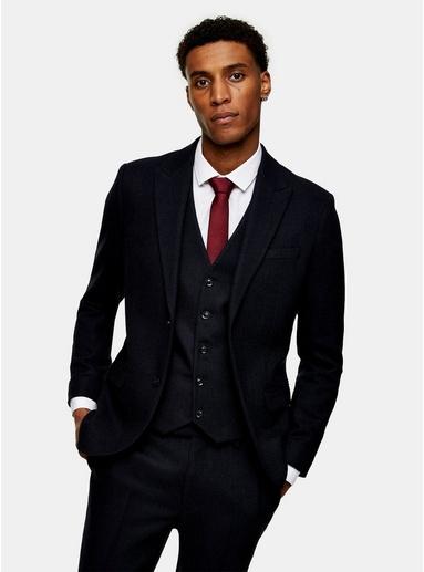 NAVY BLAUNavy Herringbone Single Breasted Skinny Suit Blazer With Peak Lapels, NAVY BLAU