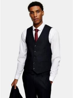 navy blaunavy herringbone skinny suit waistcoat navy blau