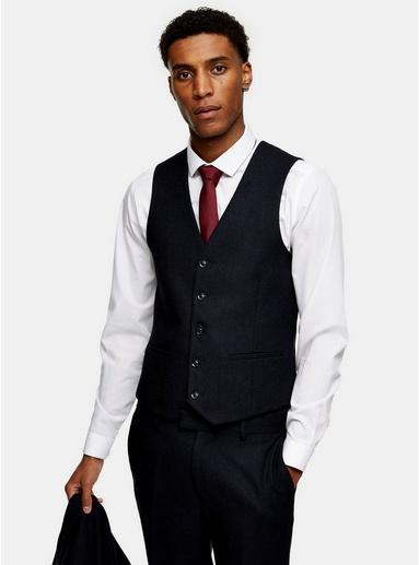 NAVY BLAUNavy Herringbone Skinny Suit Waistcoat, NAVY BLAU
